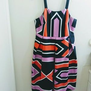 Eloquii Dress Fit And Flare Geometric Stripes 14
